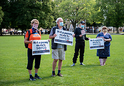 "© Licensed to London News Pictures; 18/08/2020; Bristol, UK. ""Not a Penny More"" protest at Bristol's College Green to stop Serco and Sitel's privatised contracts for ""track and trace"" during the coronavirus covid-19 pandemic, and to give the £528 million to local authorities and Public Health England teams instead. The protest is organised by weownit.org ""Public services for people not profit"", and says that privatised track and trace has been a disaster that is costing lives to the virus, and that it's time to put local public health teams in charge of the whole system. The Bristol event is part of a national Day of Action on Tuesday 18th and participants are asked to show they support safe, local track and trace for their community. They are also asked to stay safe and socially distanced and to bring hand sanitiser and wear a face mask. Photo credit: Simon Chapman/LNP."