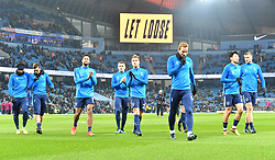 Tottenham Hotspur players warm up prior to kick off