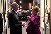 08 NOV 2019, BERLIN/GERMANY:<br /> Norbert Lammert (L), CDU, Praesident der KAS und Angela Merkel (R), CDU, Bundeskanzlerin, im Gespraech vor Beginn der Europa Rede, einer jaehrlich wiederkehrende Stellungnahme der hoechsten Repraesentanten der Europaeischen Union zur Idee und zur Lage Europas, organisiert von der Konrad-Adenauer-Stiftung, der Stiftung Zukunft Berlin und der Stiftung Mercator, Allianz Forum<br /> IMAGE: 20191108-01-008