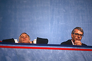 British Prime Minister, John Major centre with Secretary of State for the Environment, Chris Patten left listen to speeches at the Conservative party conference on 11th October 1991 in Blackpool, England.