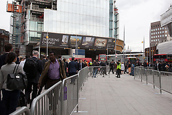 © Licensed to London News Pictures. 10/07/2012. London, UK. Rehearsal event on 10 July 2012 at London Bridge station to test operating plans for the London 2012 Olympic Games. One way systems and barriers are in place for passengers entering and leaving London Bridge station...The Olympic Games rehearsal events are taking place across 10 London rail stations today, 10 July 2012. Photo credit : Vickie Flores/LNP.