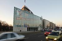 """15 JAN 2002, BERLIN/GERMANY:<br /> Bundesgeschaeftsstelle der CDU, Konrad-Adenauer-Haus, mit dem grossflaechig ueber die gesammte Gebaeudefassade angebrachten Frage """"Wie viele Arbeitslose noch, Herr Schroeder?""""<br /> IMAGE: 20020115-03-001<br /> KEYWORDS: Gebäude, Haus, Bundesgeschäftsstelle, Werbung, promotion, Plakat, bill"""
