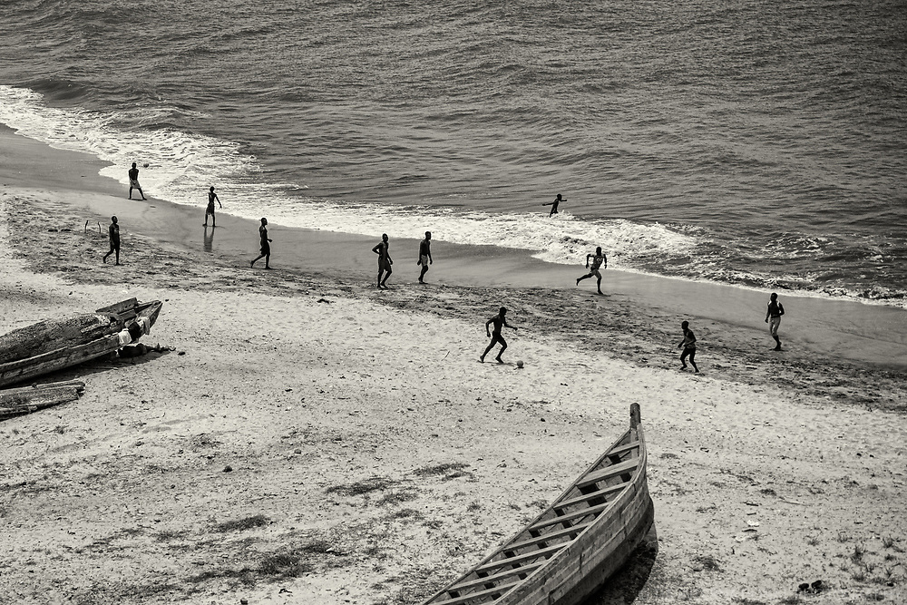 Football Game on the Beach, Elmina (monochrome)