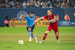 September 26, 2018 - Bronx, New York, US - Chicago Fire forward ALEKSANDAR KATAI (10) fights to catch up to New York City FC midfielder ISMAEL TAJOURI (29) during a regular season match at Yankee Stadium in Bronx, New York.  New York City FC defeats Chicago Fire 2 to 0 (Credit Image: © Mark Smith/ZUMA Wire)
