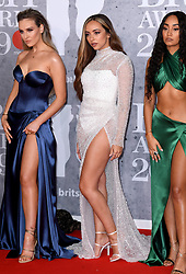 Perrie Edwards, Jade Thirlwall, Leigh-Anne Pinnock of Little Mix attending the Brit Awards 2019 at the O2 Arena, London. Photo credit should read: Doug Peters/EMPICS Entertainment. EDITORIAL USE ONLY