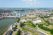 Nederland, Zuid-Holland,  Dordrecht, 10-06-2015; Gezicht op Dordrecht met spoorbrug over de Oude Maas tussen Dordrecht en Zwijndrecht. Drechttunnel in de voorgrond, Beneden Mewede aan de horizon.<br /> View of Dordrecht with railway bridge over the Oude Maas between Dordrecht and Zwijndrecht.<br /> luchtfoto (toeslag op standard tarieven);<br /> aerial photo (additional fee required);<br /> copyright foto/photo Siebe Swart