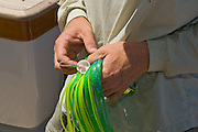 Mono loop and bottle cap stopper rig on high speed lure teaser.