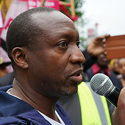 Stoke Newington Police Station. Hackney. London, UK. 24th July 2017. Rashan 2nd father speaks outside Stoke Newington Police Station in Hackney, East London, demanding 'justice' for Rashan Charles who died after being chased by police officers in the early hours of 22 July.