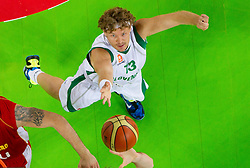 Miha Zupan of Slovenia during friendly basketball match between National teams of Slovenia and Montenegro of Adecco Ex-Yu Cup 2011 as part of exhibition games before European Championship Lithuania 2011, on August 7, 2011, in Arena Stozice, Ljubljana, Slovenia. Slovenia defeated Crna Gora 86-79. (Photo by Vid Ponikvar / Sportida)