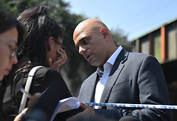 Communities Secretary Sajid Javid meets a member of the local community in Finsbury Park, north London, near where one man has died, eight people taken to hospital and a person arrested after a rental van struck pedestrians.