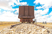 Rusty, deserted railcar on a disused sidetrack in the Negev desert, Israel