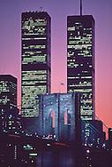 Brooklyn Bridge and Twin Towers, New York City, NY, Bridge designed by John Augustus Roebling, World Trade Center, Twin Towers, designed by Minoru Yamasaki, International Style II