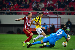 November 8, 2018 - Athens, Attiki, Greece - Goalkeeper of F91 Dudelange Landry Bonnefoi (no 12) stops the effort of Daniel Podence (no 56) of Olympiacos..Olympiacos has won F91 Dudelange 5-1 for the UEFA Europa League. (Credit Image: © Dimitrios Karvountzis/Pacific Press via ZUMA Wire)