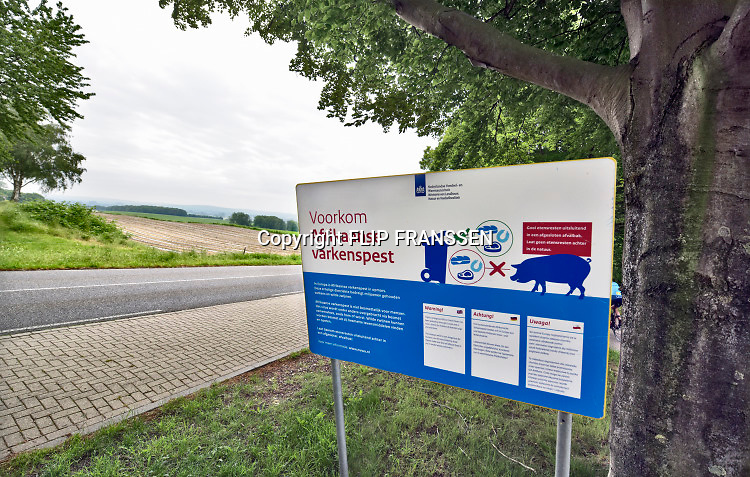 Nederland, Groesbeek, 6-6-2019Langs de weg in het landelijk gebied, platteland, staat een waarschuwingsbord tegen de afrikaanse varkenspest, een zeer besmettelijke en fatale ziekte voor varkens die in Belgie gesignaleerd is. Het bord staat in een gebied met boerderijen waar veel recreanten komen .  Foto: Flip Franssen