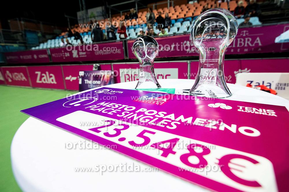 PORTOROZ, SLOVENIA - SEPTEMBER 19: Trophy ceremony after playing Singles final during the WTA 250 Zavarovalnica Sava Portoroz at SRC Marina, on September 19, 2021 in Portoroz / Portorose, Slovenia. Photo by Vid Ponikvar / Sportida