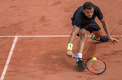 June 2, 2017 - Paris, France - Grigor Dimitrov of Bulgaria returns the ball to Pablo Carreno Busta of Spain during the third round at Roland Garros Grand Slam Tournament - Day 6 on June 2, 2017 in Paris, France. (Credit Image: © Robert Szaniszlo/NurPhoto via ZUMA Press)