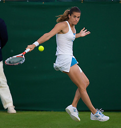 LONDON, ENGLAND - Monday, June 23, 2008: Amelie Mauresmo (FRA) in action during the first round match on day one of the Wimbledon Lawn Tennis Championships at the All England Lawn Tennis and Croquet Club. (Photo by David Rawcliffe/Propaganda)