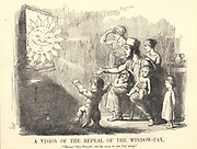 An artisan and his family looking forward to seeing more of the Sun when the Window Tax, imposed in 1696, would be repealed in 185.  Cartoon by Richard Doyle from 'Punch', London, 1851.