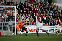 Photo: Marc Atkins.<br /> <br /> Northampton Town v Stockport County. Coca Cola League 2. 17/04/2006. Scott McGleish scores his second.