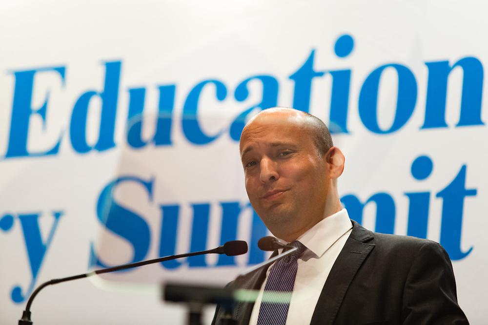 Israeli Minister of Education, Naftali Bennett, speaks during an international OECD convention for Education ministers, in Jerusalem, Israel, on September 26, 2017.
