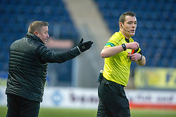 Inverness Caledonian Thistle's manager John Robertson and Ref Euan Anderson. Falkirk 3 v 1 Inverness Caledonian Thistle, Scottish Championship game played 27/1/2018 at The Falkirk Stadium.