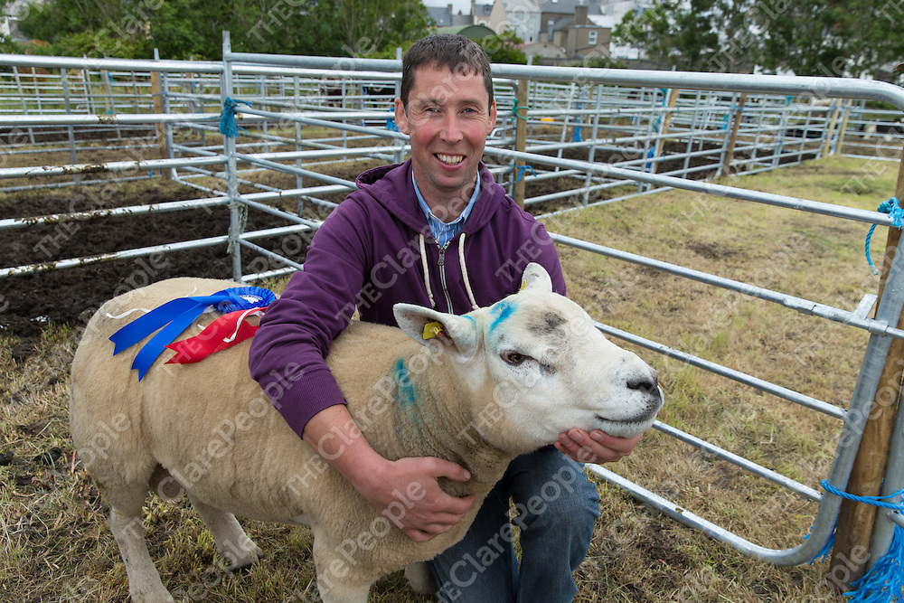 Kieran Shannon from Miltown Malbay with his prize winning Ram at the Milton Malbay  2015 Town and Country Fair