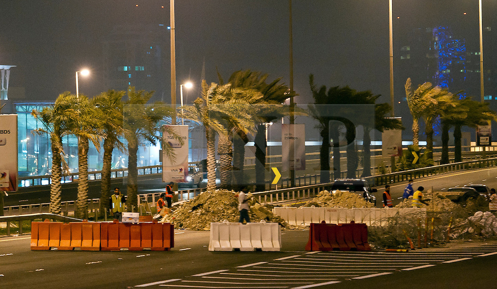 © under license to London News Pictures. 13/03/2011.Bahrain anti-government protesters use rubble, razor wire and road barriers to block the main Shaik Khalifa bin Salman Highway into Manama as rumours spread of troops entering Bahrain to assist the  government with the  removal of   protesters. Picture credit should read: Simon Latimer/London News Pictures