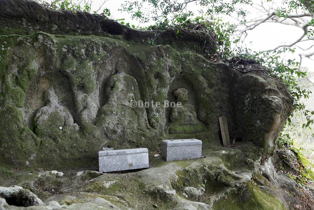old weathered Buddhist monument Kamakura Japan