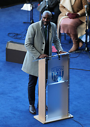 Jason Roberts, nephew of Cyrille, during the memorial service for Cyrille Regis at The Hawthorns, West Bromwich.