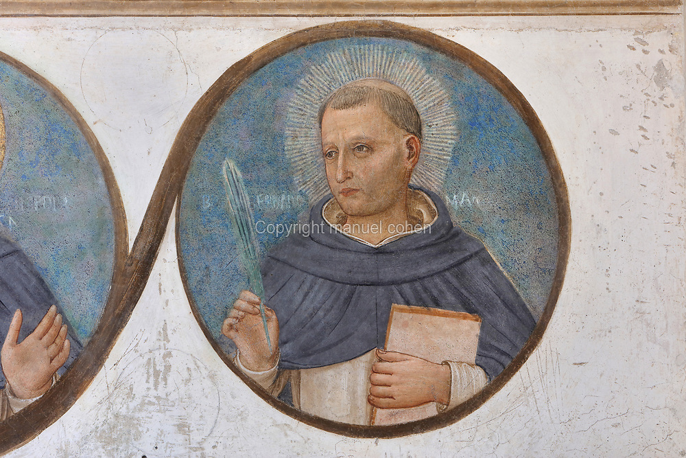 Bernardo Fiorentino, martyr, detail from the bottom frieze of portrait medallions of Dominican genealogy, painted by Benozzo Gozzoli, 1421-97, Fra Angelico's assistant, from Crucifixion with Saints, Renaissance fresco, 1441-42, by Fra Angelico, 1395-1455, from the North tympanum opposite the chapter house entrance in the Convento San Marco, now the Museo di San Marco, in Florence, Tuscany, Italy. The painting depicts the crucifixion of Jesus and the 2 thieves, with saints in mourning. Picture by Manuel Cohen