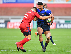 Timothy Lafaele of Japan is tackled by Yury Kushnarev of Russia <br /> <br /> Photographer Craig Thomas<br /> <br /> Japan v Russia<br /> <br /> World Copyright ©  2018 Replay images. All rights reserved. 15 Foundry Road, Risca, Newport, NP11 6AL - Tel: +44 (0) 7557115724 - craig@replayimages.co.uk - www.replayimages.co.uk