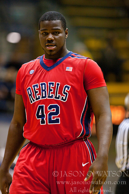 March 16, 2011; Berkeley, CA, USA;  Mississippi Rebels center Demarco Cox (42) before a free throw against the California Golden Bears during the second half of the first round of the National Invitation Tournament at Haas Pavilion.  California defeated Mississippi 77-74.