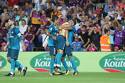 August 13, 2017 - Barcelona, Spain - Cristiano Ronaldo of Real Madrid celebrates ith his teamates after scoring his side's second goal during the Spanish Super Cup football match between FC Barcelona and Real Madrid on August 13, 2017 at Camp Nou stadium in Barcelona, Spain. (Credit Image: © Manuel Blondeau via ZUMA Wire)
