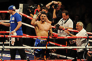 WBA Inter-Continental cruiserweight title.<br /> Nathan Cleverly of Wales celebrates his win v Sean Corbin of Guyana. 'The second coming'  boxing event at the Motorpoint Arena in Cardiff, South Wales on Sat 17th May 2014. <br /> pic by Andrew Orchard, Andrew Orchard sports photography.