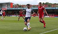 Preston North End's Sean Maguire shields the ball from Accrington Stanley's Ross Sykes<br /> <br /> Photographer Stephen White/CameraSport<br /> <br /> Football Pre-Season Friendly - Accrington Stanley v Preston North End - Saturday 24th July 2021 - Crown Ground - Accrington<br /> <br /> World Copyright © 2021 CameraSport. All rights reserved. 43 Linden Ave. Countesthorpe. Leicester. England. LE8 5PG - Tel: +44 (0) 116 277 4147 - admin@camerasport.com - www.camerasport.com