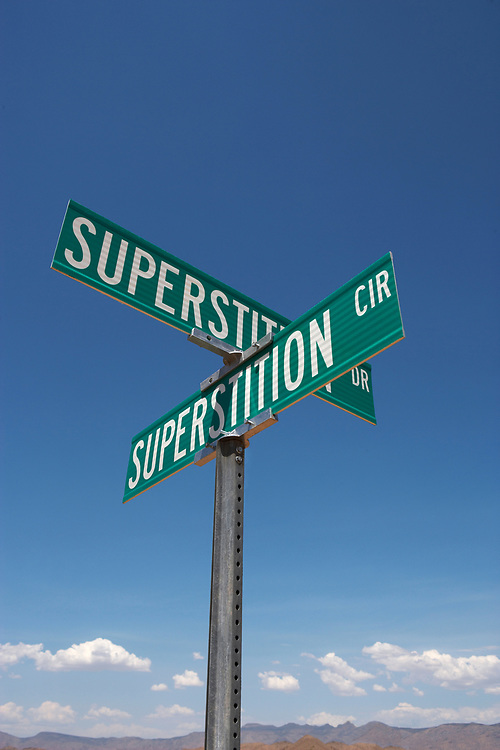 Intersection of two streets with the name superstition in Kingman, Arizona