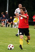 Waikato's Jason Hicks passes the ball. NZFC, ASB Premiership football match, Waikato FC v Waitakere United at Fred Jones Park, Hamilton, New Zealand. Saturday 11 December 2010. Photo: Dion Mellow / photosport.co.nz