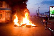 Burning road blocks in Kisumu Kenya