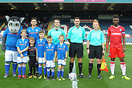 Pre-match line up during the EFL Sky Bet League 1 match between Rochdale and Gillingham at Spotland, Rochdale, England on 23 September 2017. Photo by Daniel Youngs.