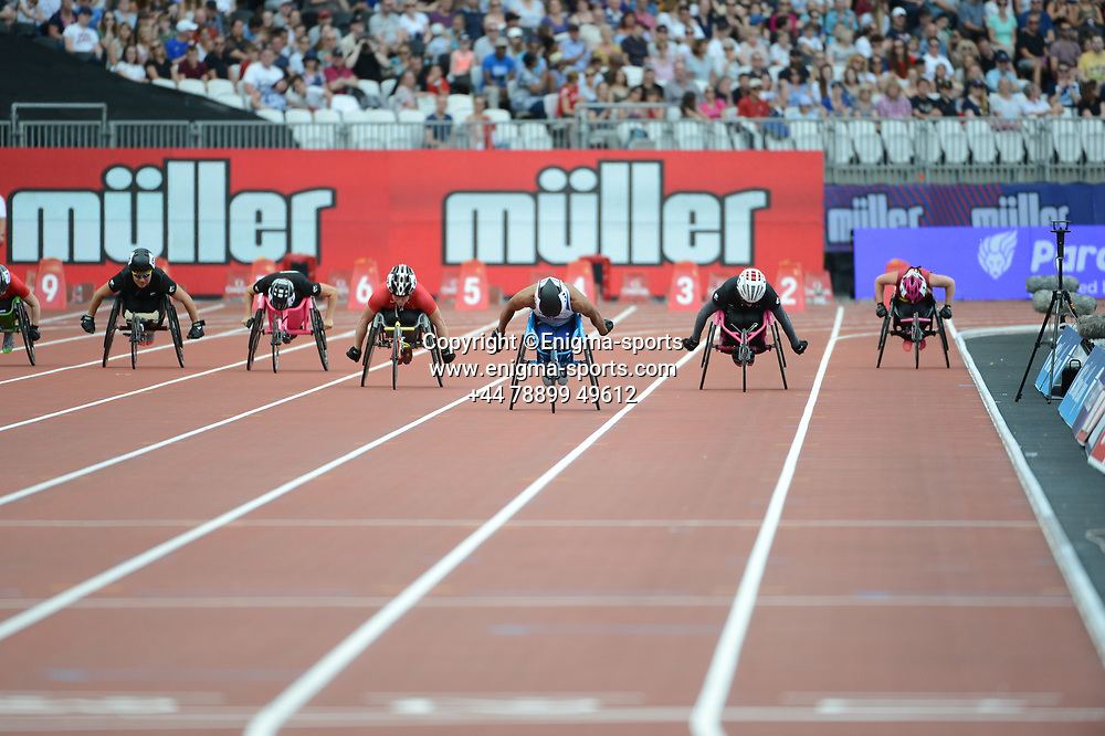 Kare Adenegan competes in the women's T33/34 100m during the IAAF Diamond League at the Queen Elizabeth Olympic Park London, England on 20 July 2019.