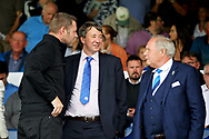 Posh joint owner Dr Jason Neale talking to Barry Fry and Darragh MacAnthony before the EFL Sky Bet League 1 match between Peterborough United and Luton Town at London Road, Peterborough, England on 18 August 2018.
