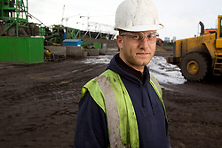 Olympic Park. Two large remediation plants have been created on the Olympic Park with soil washing machines installed to wash, sieve and shake out the contamination.<br />  <br /> Contamination of the area has built up through a century of neglect and heavy industrial use, making this one of the UK's most challenging land clean-up jobs. Picture shows operator Dewulf Wooter. Picture taken on 03 Jun 09 by Dave Poultney. <br /> <br /> **model released**