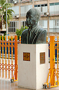 Israel, Tel Aviv, A statue  of Yitzhak Rabin, Israeli prime minster, at the entrance to Tel Aviv City hall near the spot where he was shot on November 4th 1995