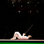 TOKYO, JAPAN - JULY 30:   Sangyoung Park of Korea celebrates clinching the bronze medal for his team with his final round victory over Chao Dong of China giving his team a 45-42 victory during the fencing epee team event for men at the Makuhari Messe at the Tokyo 2020 Summer Olympic Games on July 30, 2021 in Tokyo, Japan. (Photo by Tim Clayton/Corbis via Getty Images)