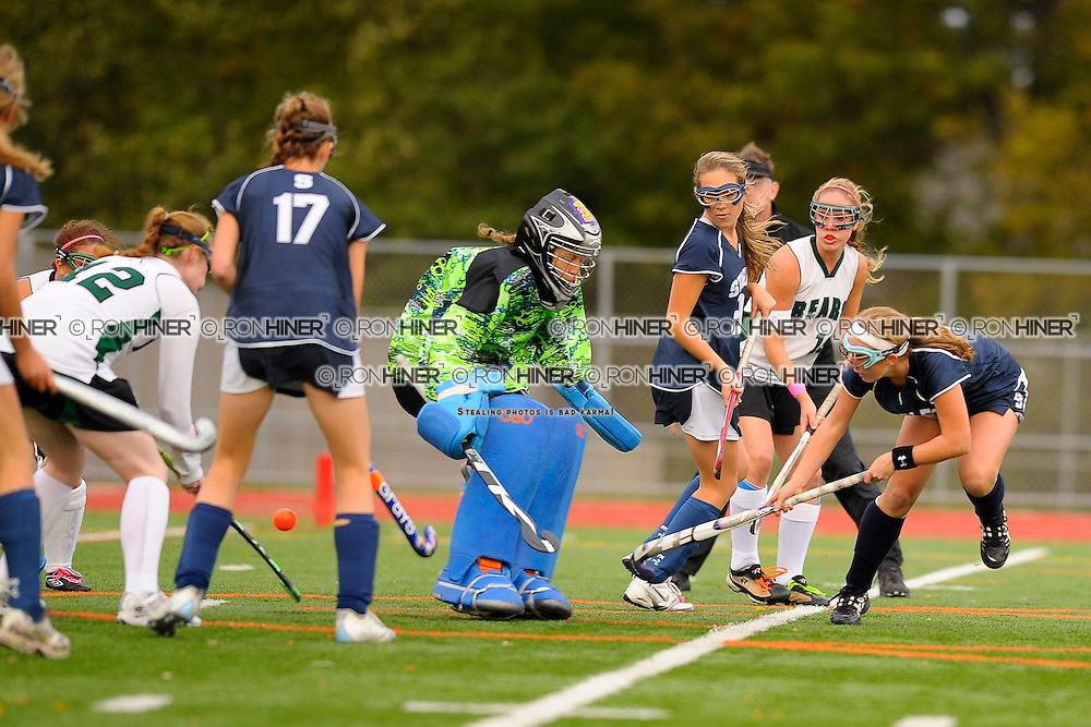 Callie Hiner scores the first goal seconds into the game.