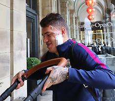 Manchester City goalkeeper Ederson arrives back with dressing - 10 Sep 2017