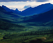North Klondike River Valley with Mount Monolith and Tombstone Mountain of the Tombstone Range beyon, Tomstone Territorial Park, Yukon Terrritory, Canada.