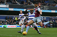 Rudy Gestede of Aston Villa taking a shot at goal. EFL Skybet championship match, Queens Park Rangers v Aston Villa at Loftus Road Stadium in London on Sunday 18th December 2016.<br /> pic by Steffan Bowen, Andrew Orchard sports photography.