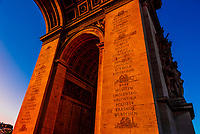 Architectural detail of the Arc de Triomphe (The Arc de Triomphe de l'Étoile) is one of the most famous monuments in Paris, France, standing at the western end of the Champs-Élysées at the centre of Place Charles de Gaulle, formerly named Place de l'Étoile.