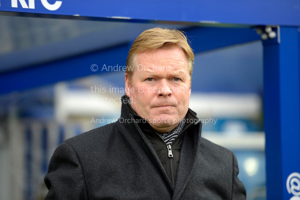 Ronald Koeman, the Southampton manager arriving at the dugout before k/o. Barclays Premier league match, Queens Park Rangers v Southampton at Loftus Road in London on Saturday 7th Feb 2015. pic by John Patrick Fletcher, Andrew Orchard sports photography.
